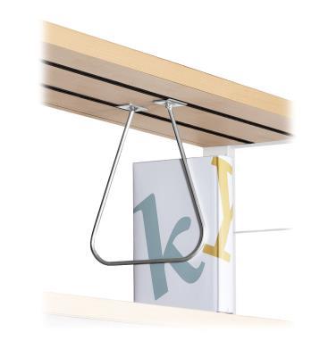 Hangende boekensteun met metalen slider