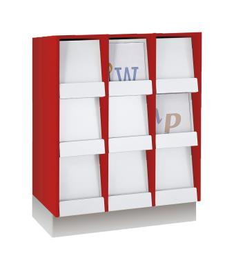 Tijdschriftenkast met 12 vakken  kunstof klep, decor 1