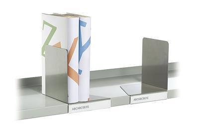 Verschuifbare boekensteun links met label