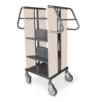 Boekenwagen Kompak StaalQar sorteerplank Grafietgrijs/ahorn, 1x sorteer, 4x legger staal