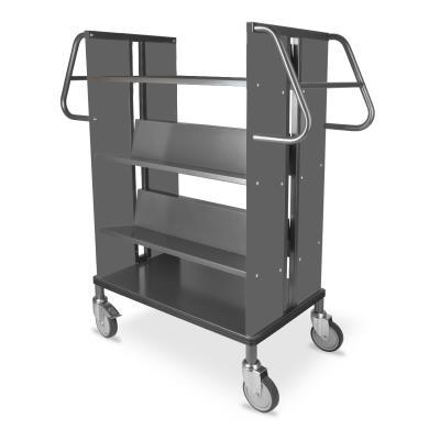 Boekenwagen StaalQar sorteerplank Grafietgrijs/grafietgrijs, 1x sorteer 4x legger