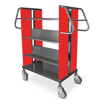 Boekenwagen StaalQar sorteerplank Grafietgrijs/rood, 1x sorteer 4x legger