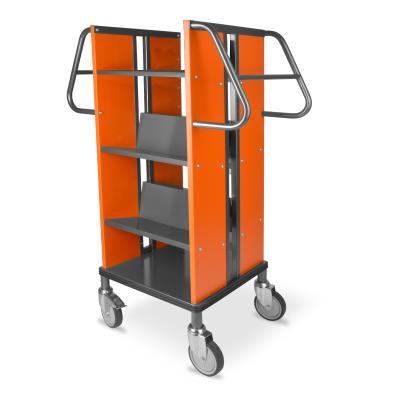 Boekenwagen Kompak StaalQar sorteerplank Grafietgrijs/Oranje, 1x sorteer, 4x legger staal