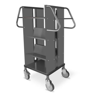 Boekenwagen Kompak StaalQar sorteerplank Grafietgrijs/Grafietgrijs, 1x sorteer, 4x legger staal