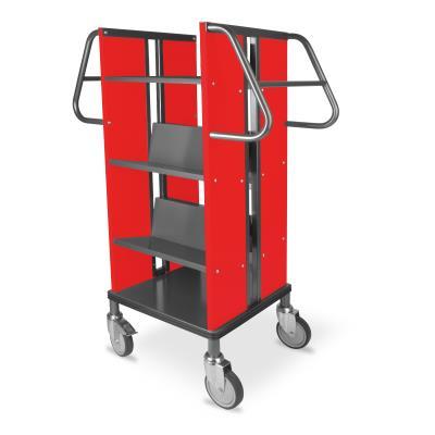 Boekenwagen Kompak StaalQar sorteerplank Grafietgrijs/rood, 1x sorteer, 4x legger staal