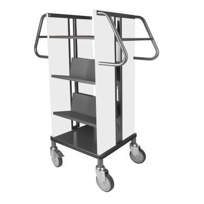 Boekenwagen Kompak StaalQar sorteerplank Grafietgrijs/wit, 1x sorteer, 4x legger staal