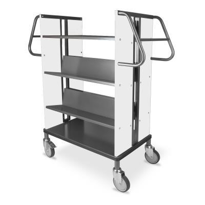 Boekenwagen StaalQar sorteerplank Grafietgrijs/wit, 1x sorteer, 4x legger staal