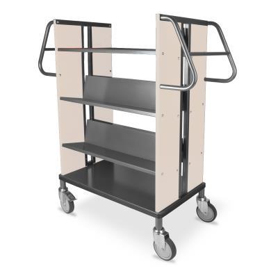 Boekenwagen StaalQar sorteerplank Grafietgrijs/ahorn, 1x sorteer, 4x legger staal