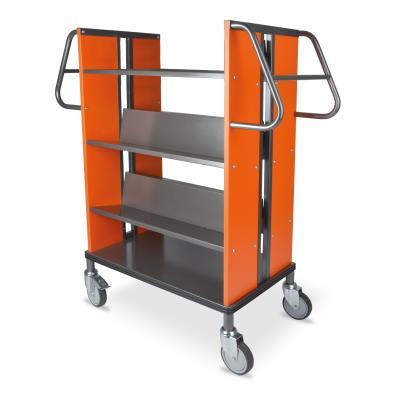 Boekenwagen StaalQar sorteerplank Grafietgrijs/oranje, 1x sorteer, 4x legger staal